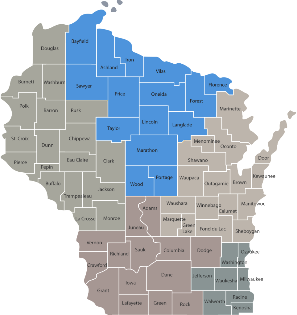 Wisconsin state map showing CYSHCN regions and northern region counties