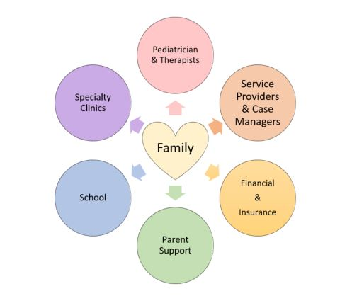 """Heart with text """"Family"""" surrounded by circles of professionals"""